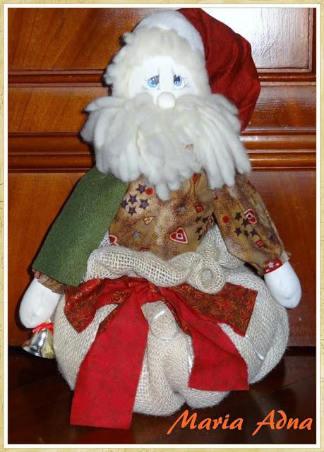 Papai Noel, Maria Adna, Decoração natalina, Decoração de Natal, Artigos de Natal, Natal, Patchwork bolsas e afins
