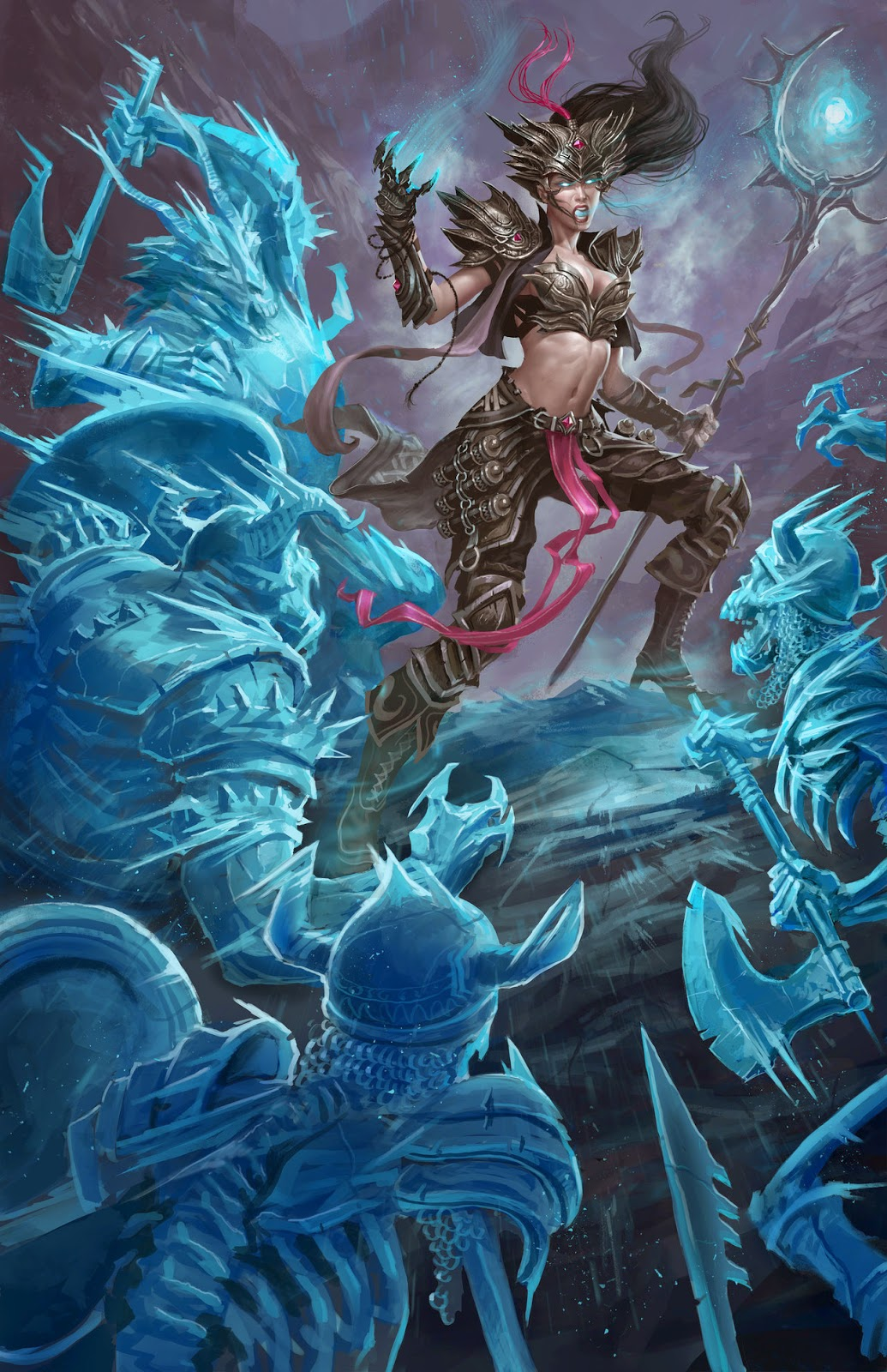 illustration de David Sladek representant une soricère du jeu Diablo