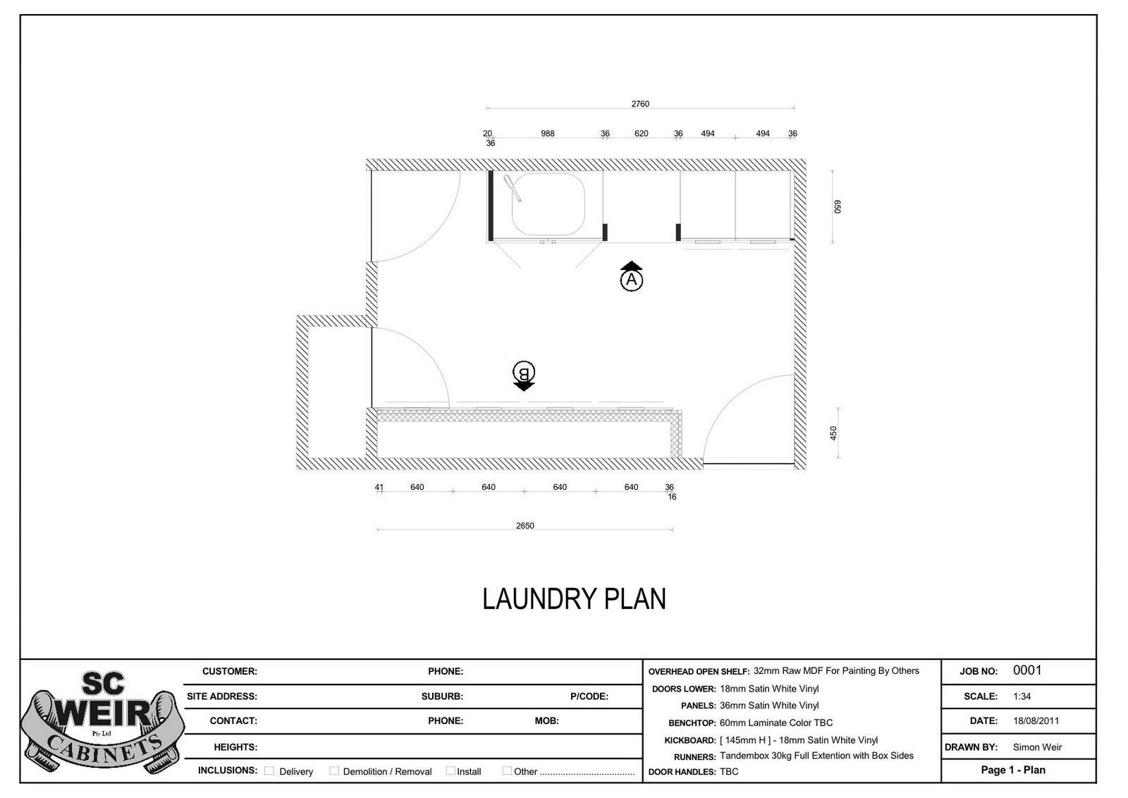 White verandah laundry mudroom drawings for Laundry plan