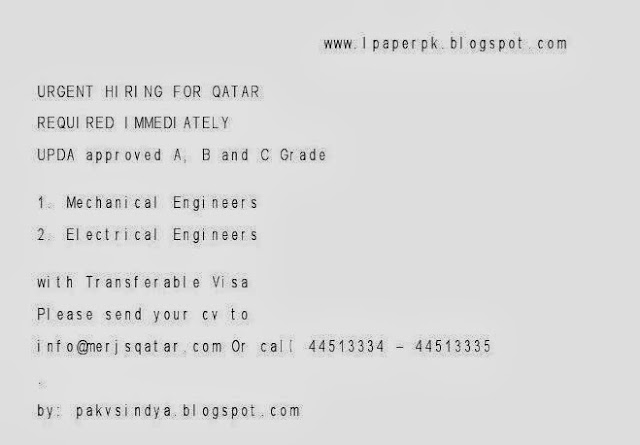 mechanical and electrical engineers, jobs for engineers, jobs in qatar