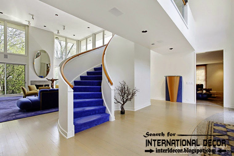 art deco stairs design 2015 with velvet carpeted staircase for modern interior