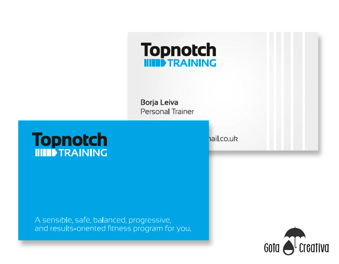 Tarjetas Topnotch Training por Gota Creativa