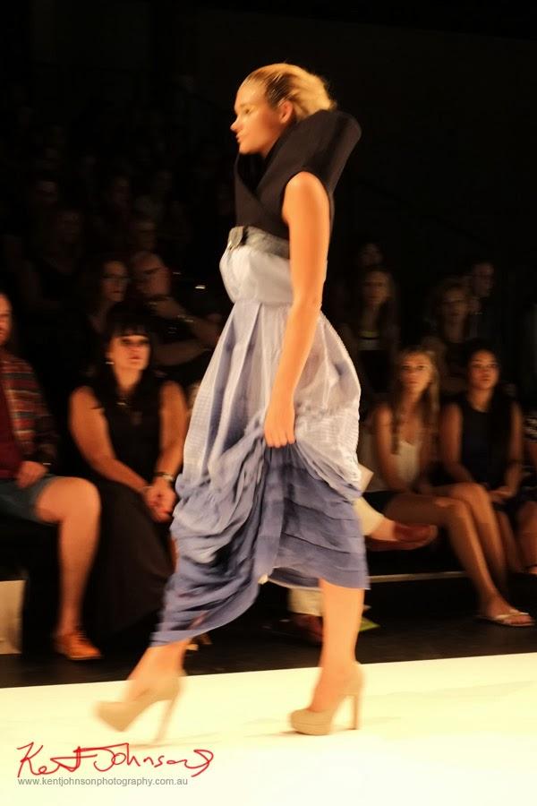 Anna Pham; purple dress high collar -  New Byzantium : Raffles Graduate Fashion Parade 2013 - Photography by Kent Johnson.