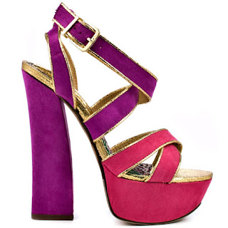 multi-colored sassy high-heel sandal