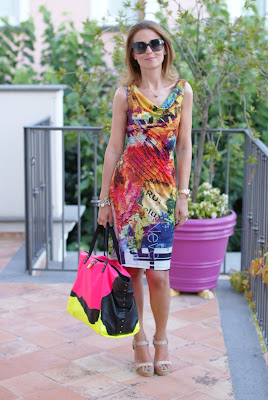 colorful print dress, Paciotti wedges