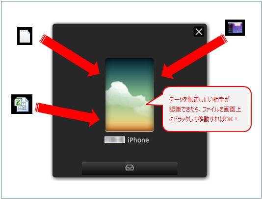 ドラック&ドロップで転送したい画像やファイルをFiledrop上に移動するだけ