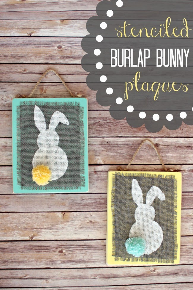 Stenciled Burlap Bunny Plaques
