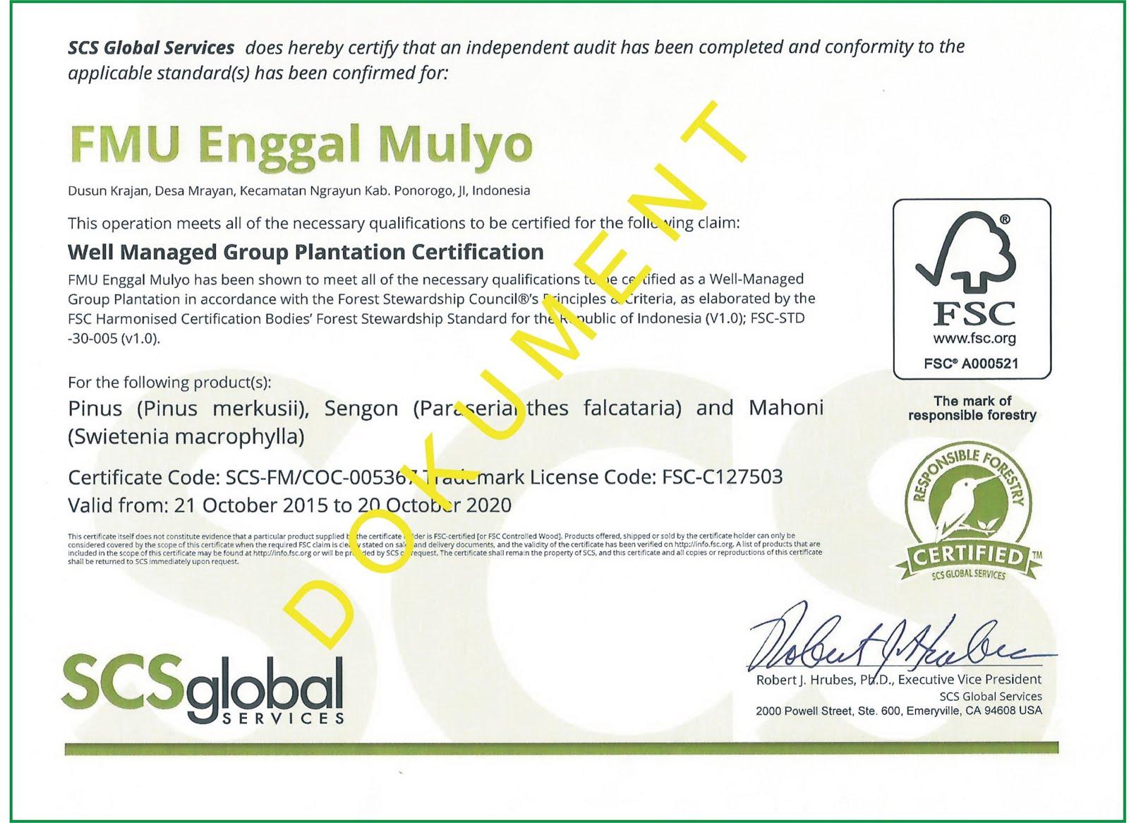 Sertifikat PHBML skema FSC FMU Enggal Mulyo