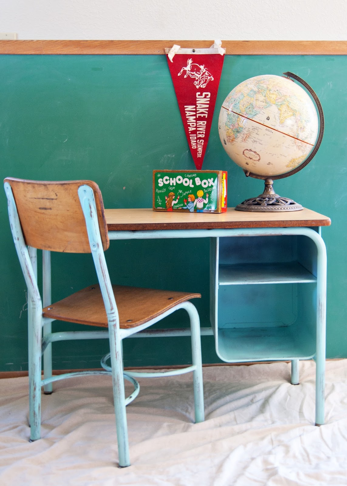 School Desk and Chair Makeover - aqua school desk, globe, pennant, - School Desk And Chair Makeover Averie Lane: School Desk And Chair