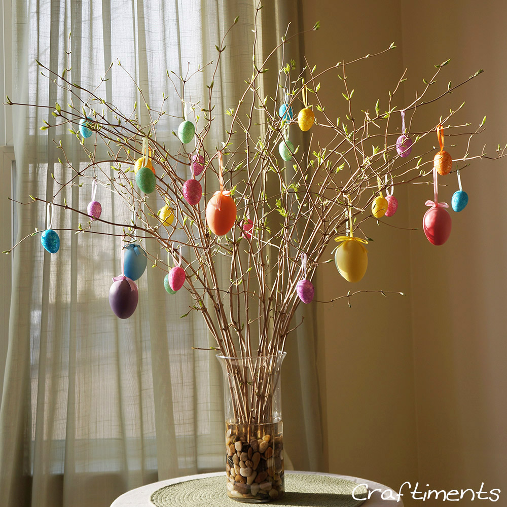 Craftiments easy and frugal easter egg tree How to make an easter egg tree