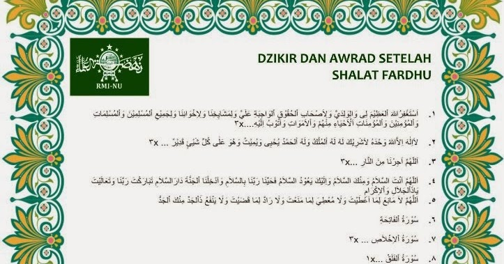 Membaca Wirid Dan Doa Setelah Shalat Rabithah Maahid