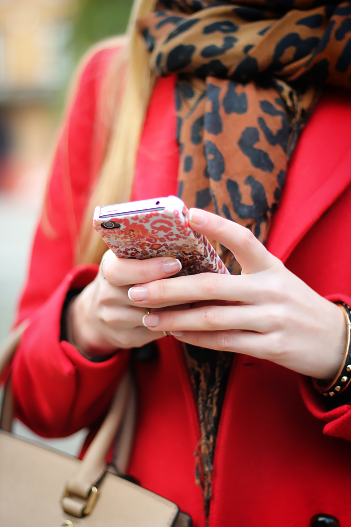 red zara coat, leopard scarf, fall outfit