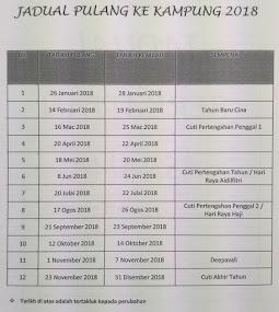 JADUAL PULANG KE KAMPUNG 2018