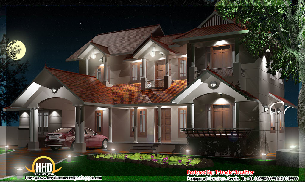 style house night elevation view by triangle homez trivandrum kerala