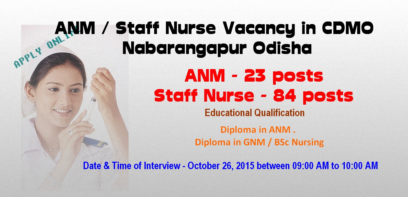 nurses job vacancy anm staff nurse vacancy in cdmo nabarangapur anm staff nurse vacancy in cdmo nabarangapur odisha 2015