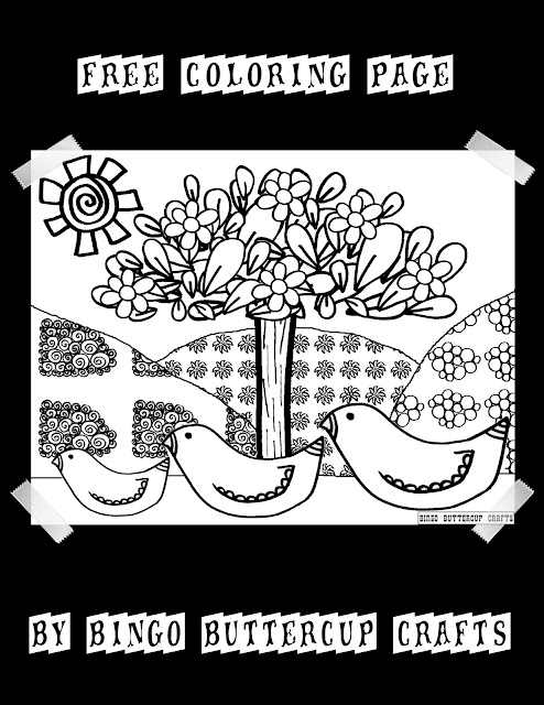 Free & Sweet Bird Family Coloring Page by Bingo Buttercup