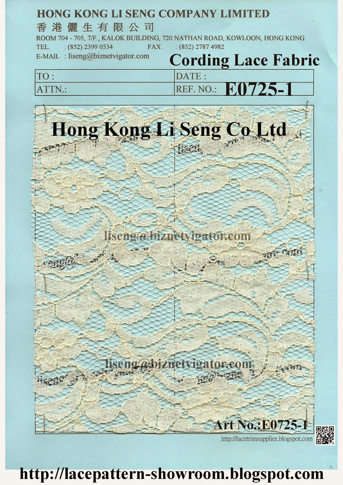 A Natural Embroidered Cotton Cording Lace Fabric Wholesale and Factory - Hong Kong Li Seng Co Ltd