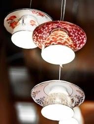 lampara de techo diy con juego de té