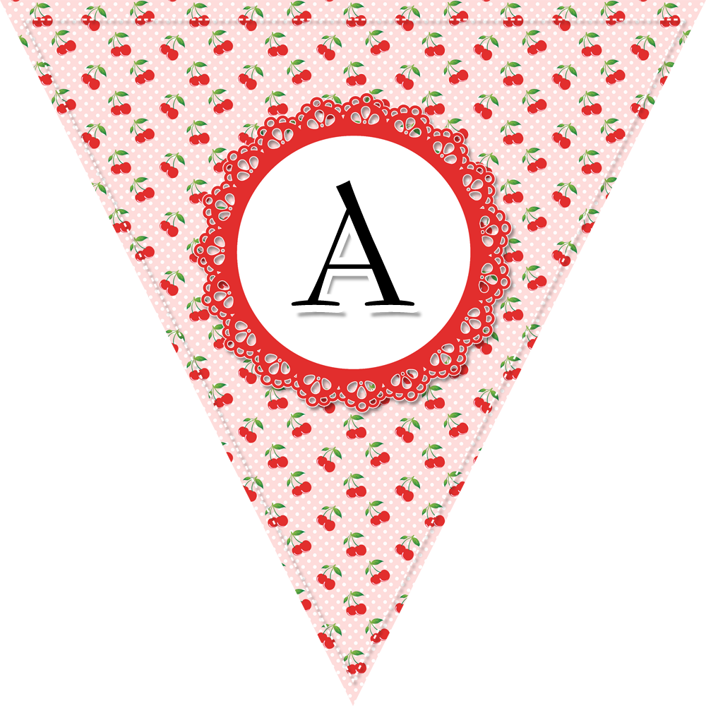 Monogram banner flags with pink and red cherry decorations