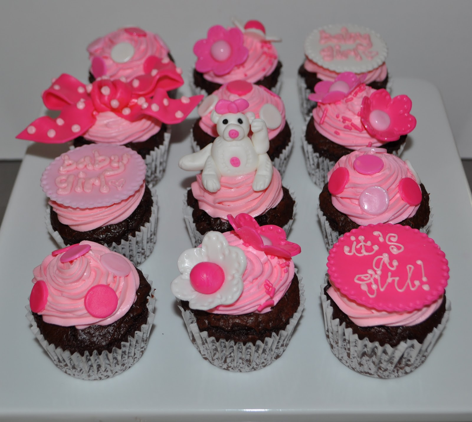 pinked out cupcakes for an office party baby shower it 39 s a