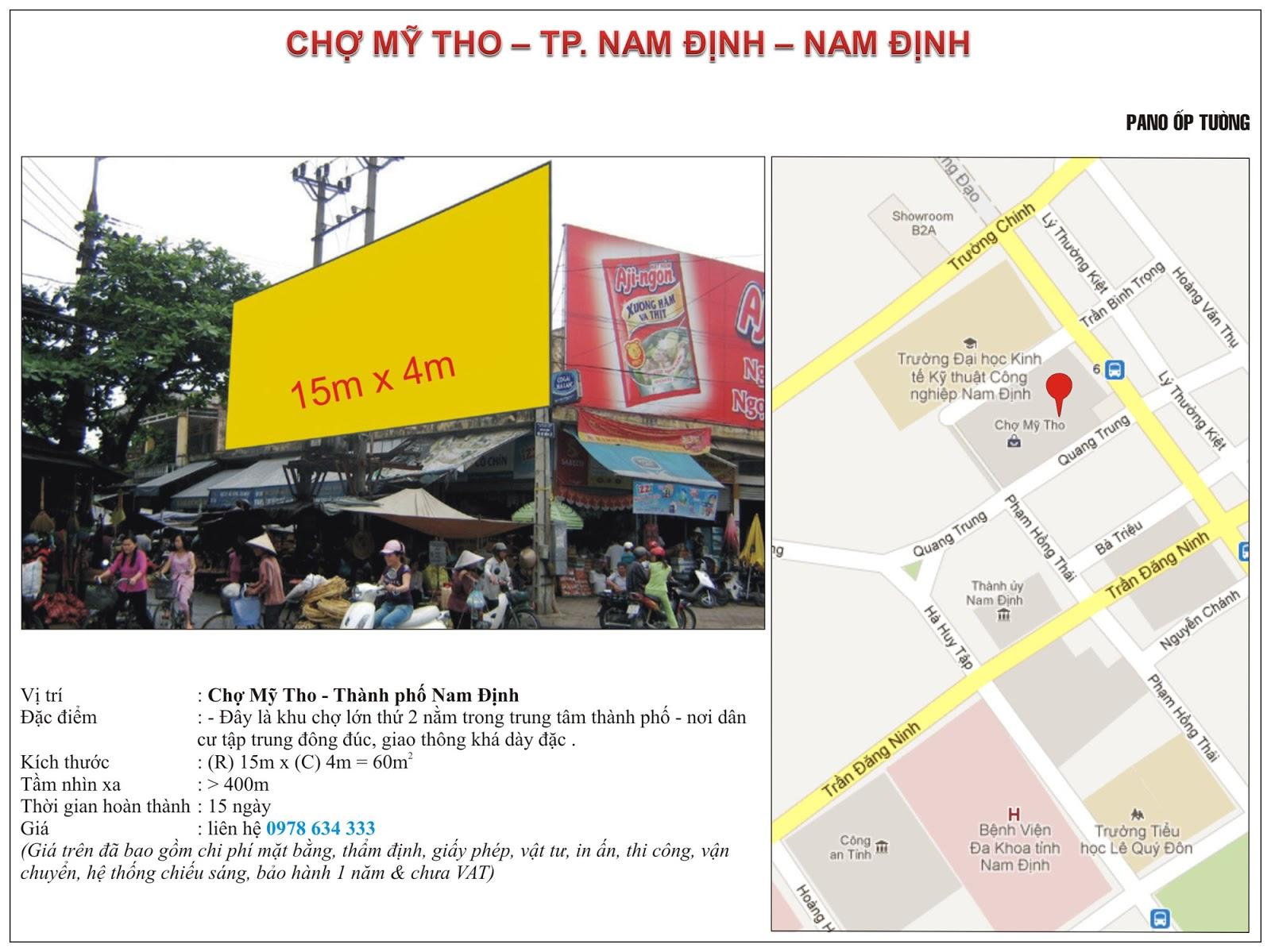 Quảng cáo tại chợ Mỹ Tho - Nam Định