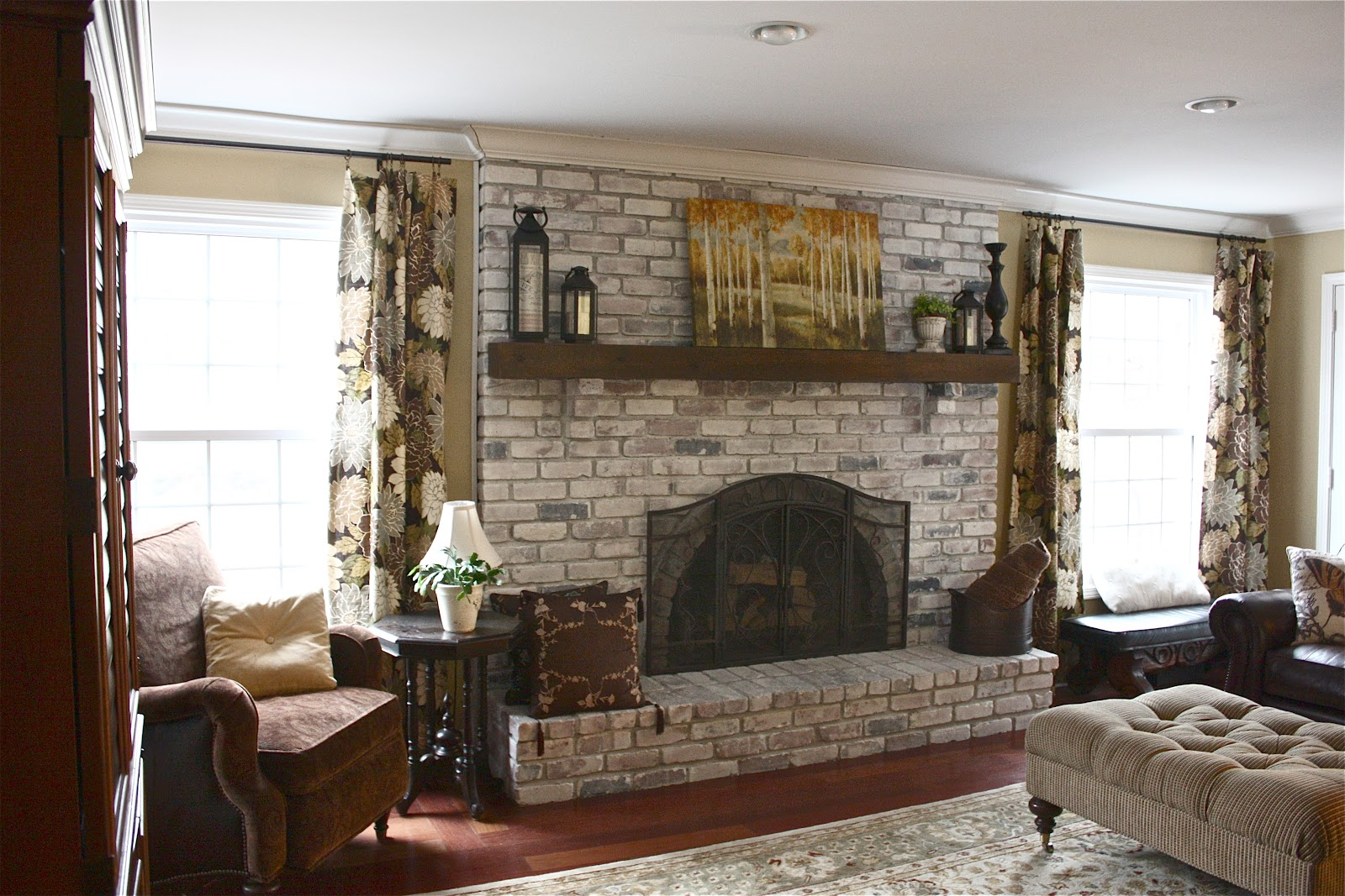 Whitewash Brick Fireplace 1600 x 1067