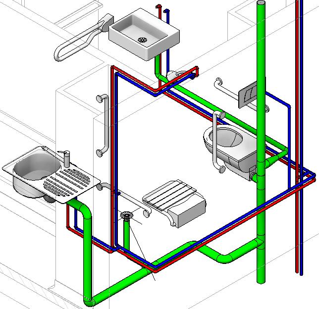 Revit m mo revit 2015 mep plomberie canalisations - Plan evacuation eaux usees maison ...