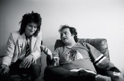 RONNIE WOOD with JOHN BELUSHI Backstage at SATURDAY NIGHT LIVE 1978