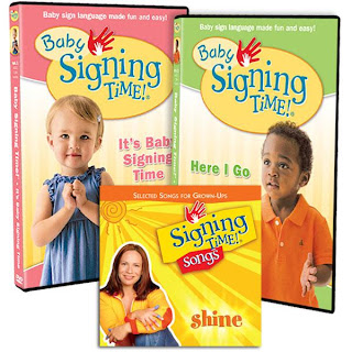 The collection of signing time dvd's and books.  I highly recommend them if you are interested in teaching your child American Sign Language (ASL)