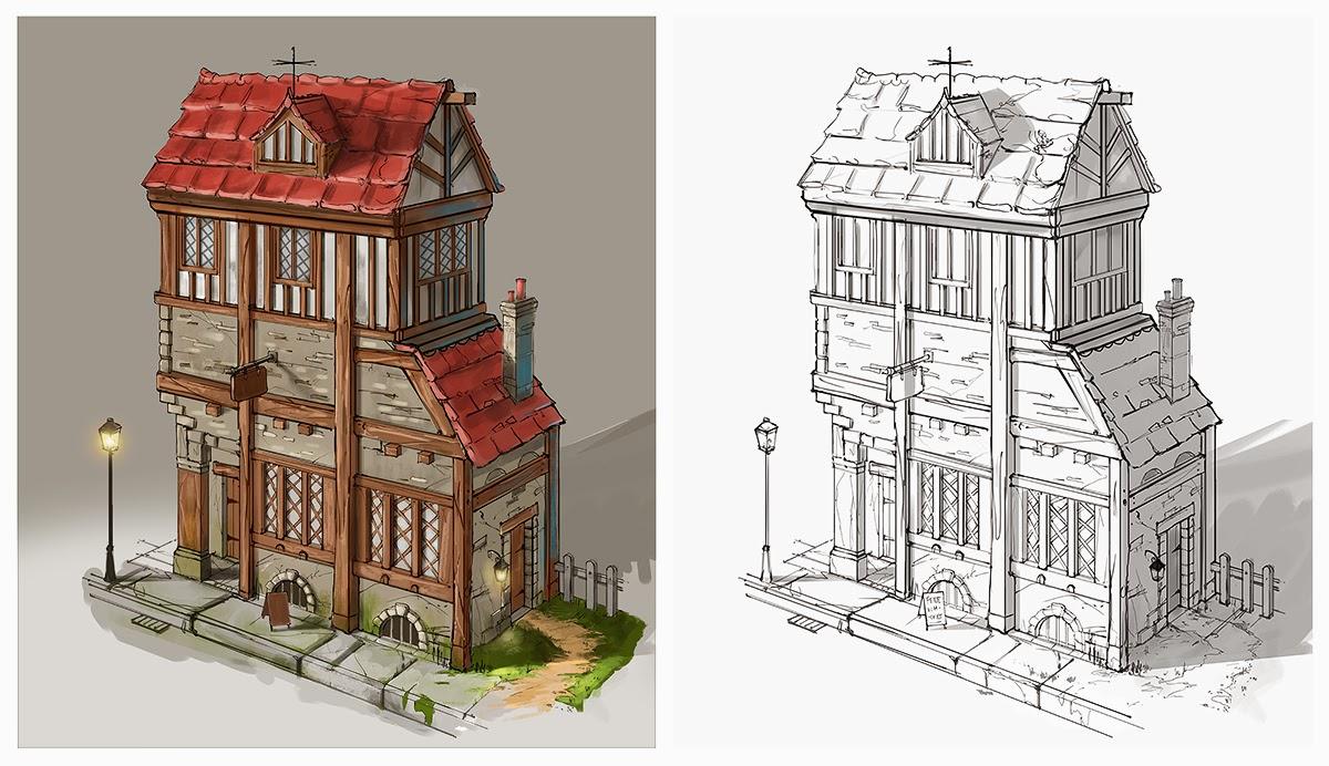 Jordan grimmer concept art medieval building design for Medieval house plans