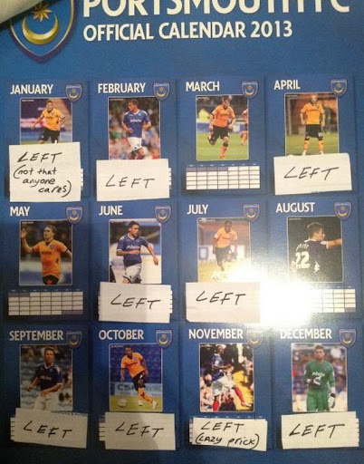 Only 3 players on 2013 Portsmouth calendar still at club