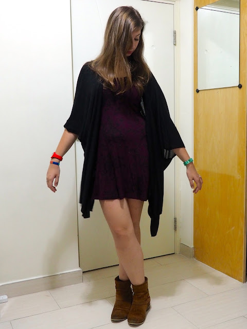 Fly Away | outfit of short dark purple floral dress, with loose black cape cardigan and brown suede ankle boots