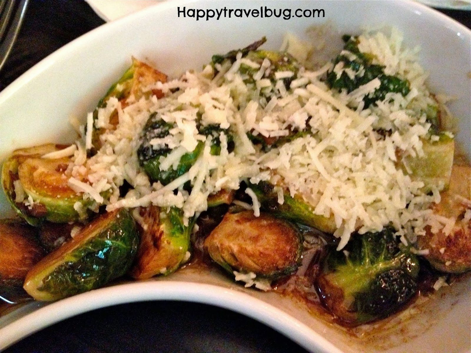 Brussels sprouts with brown butter sauce, capers and cheese