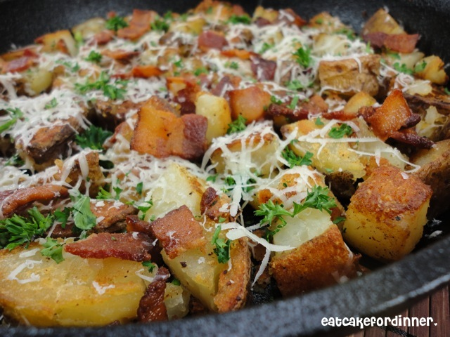 Eat Cake For Dinner: Skillet Potatoes with Bacon and Parmesan Cheese