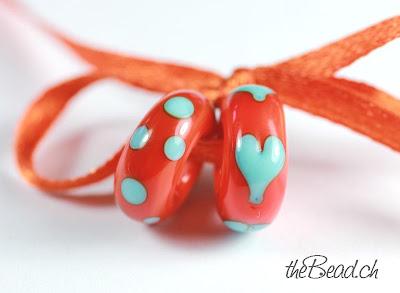 Pandora und Trollbead Style Muranoglasperlen Herz in Rot