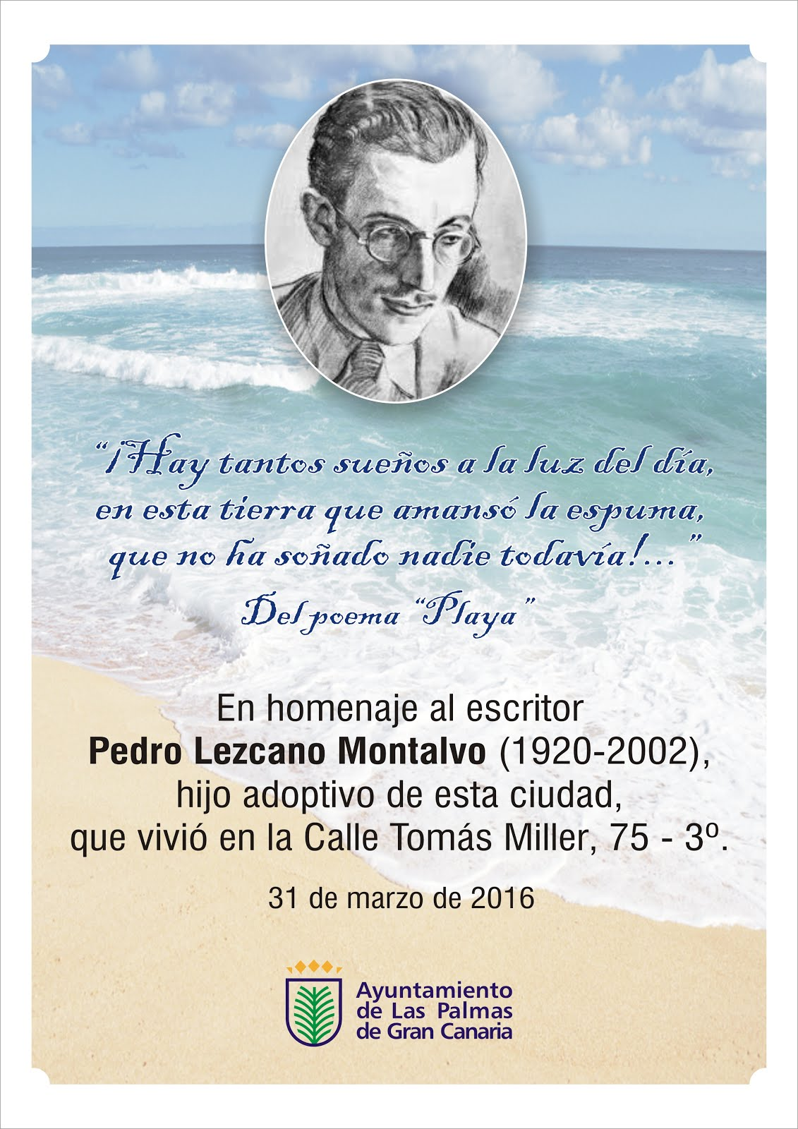 Pedro Lezcano contará con una placa homenaje en el Paseo de Las Canteras de Las Palmas de Gran Cana