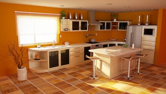 The cocina y muebles dise o de cocinas de color naranja - Cocina de color ...