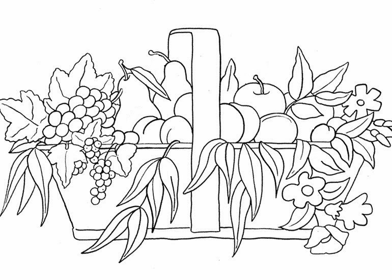 Desenhos de cestas com frutas para colorir formando alunos - Dibujos para pintar en tela infantiles ...