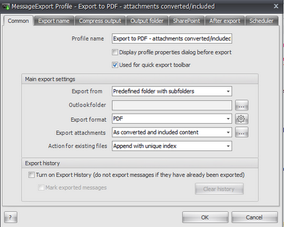 Image shows MessageExport's settings screen where you can setup automatic email-to-pdf processing.
