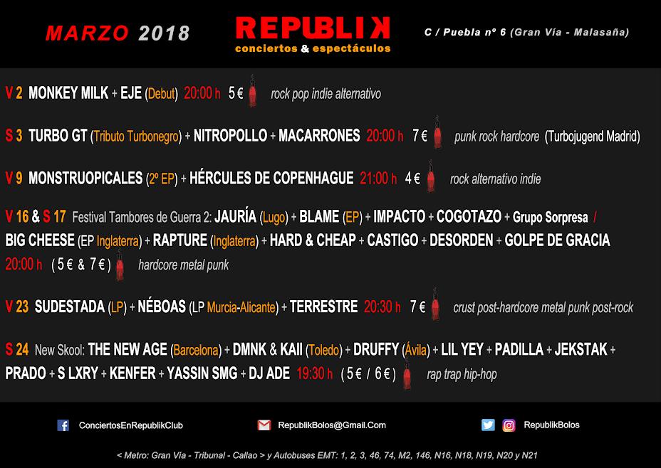 Conciertos: Marzo de 2018 (Republik)