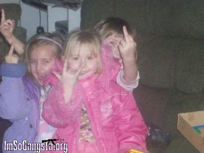 Little girls flipping us off!