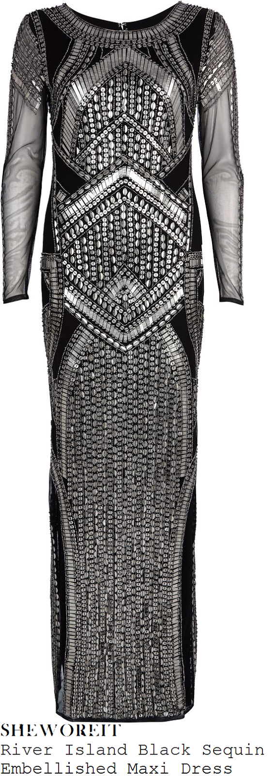tamera-foster-black-silver-sequin-bead-embellished-mesh-maxi-dress-x-factor