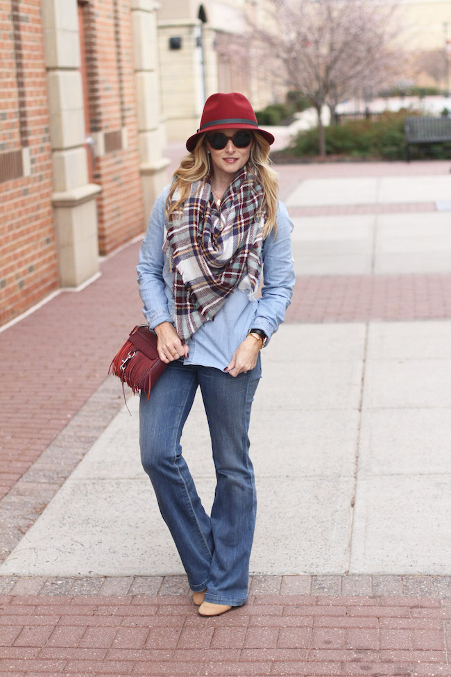 eugenia kim at, shein scarf, chambray shirt, flare jeans, rebecca minkoff bag