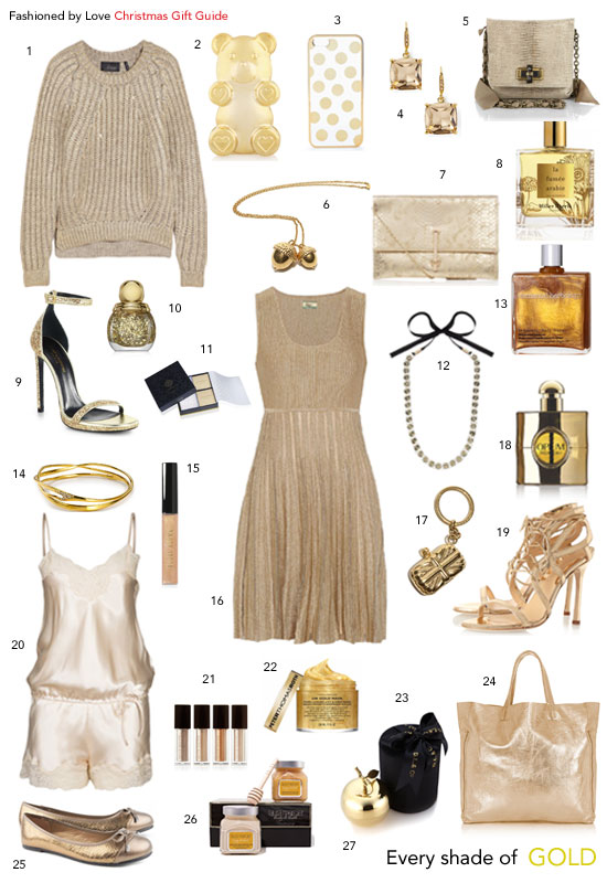 via fashionedbylove | christmas holiday gift guide in gold | clothes, shoes, accessories, make-up, perfume & more