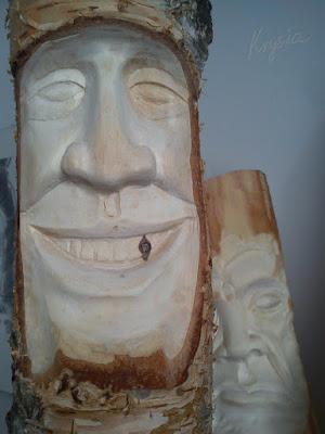 rzeźba w brzozie Leśne Ludki Adrian Bienias
