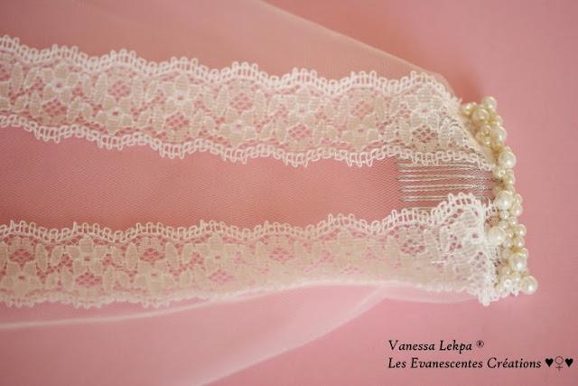 accessoires de mariée pour mariage féérique et romantique voile brodé de dentelle de calais de tulle de soie de perles nacrées de cristaux swarovski