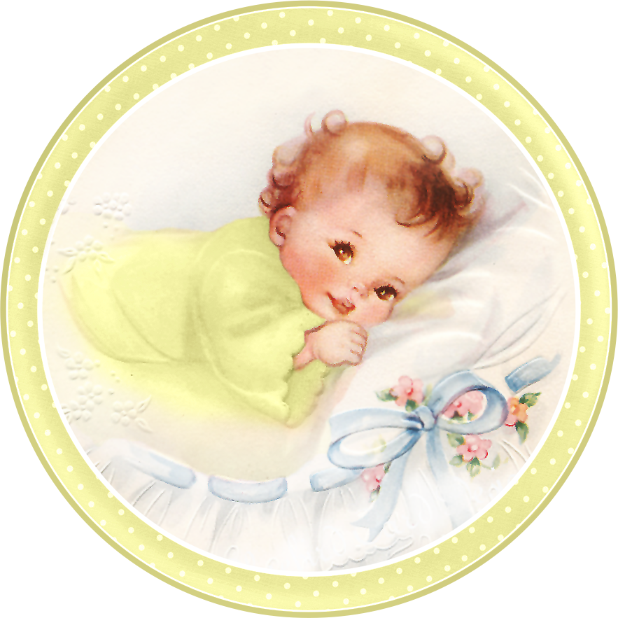 Cute Babies at Bed. Free Printable Cards, Toppers or ...