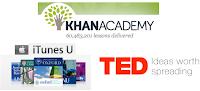 TED, Kahn Academy, iTunes U Logos