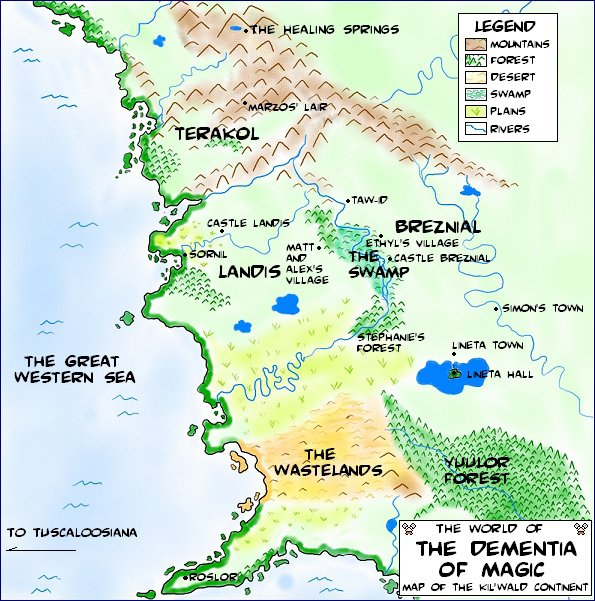 Map for the webcomic The Dementia of Magic by Nicholas Killewald. © Laura Sheana Taylor.