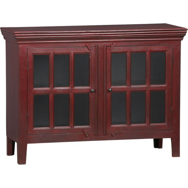 Copy Cat Chic Crate And Barrel Rojo Red Media Storage Cabinet